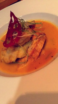 Malaysian-style Boullabaisse with salmon, snapper, tiger prawns and coconut cream