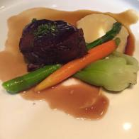 Hoisin Glazed Braised Short Ribs with sweet potato puree, Asian vegetables and star anise