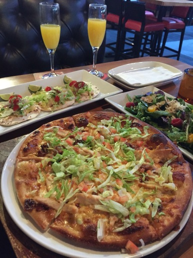 Taco Trio, House Salad, Grill Chicken Thin Crust Pizza