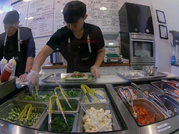 Preparing the Sushi Burrito