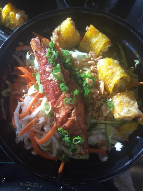 Supreme Shrimp with Spring Rolls and Noodles
