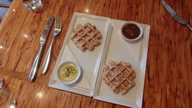 Waffles with milk chocolate lavender and white chocolate pistachio rosewater