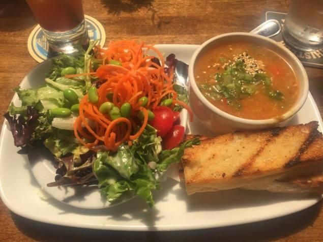 Soup (Coconut Thai Chicken), Salad (Spring Greens), Bread