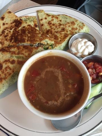 Quesadilla with Beef Barley Soup