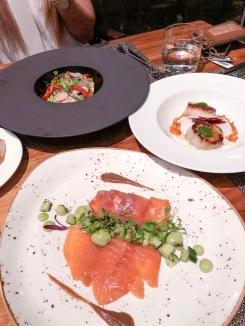 Salmon Gravlax, Tiger Prawn Ceviche, Scallop Minestrone